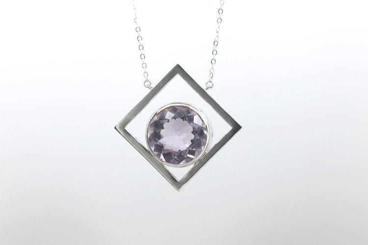 Pink amethyst diamond shaped pendant lbee designs bespoke jewelry pink amethyst diamond shaped pendant aloadofball Images