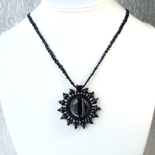 Black agate sunburst pendant necklace iris elm jewelry unique black agate sunburst pendant necklace aloadofball Images