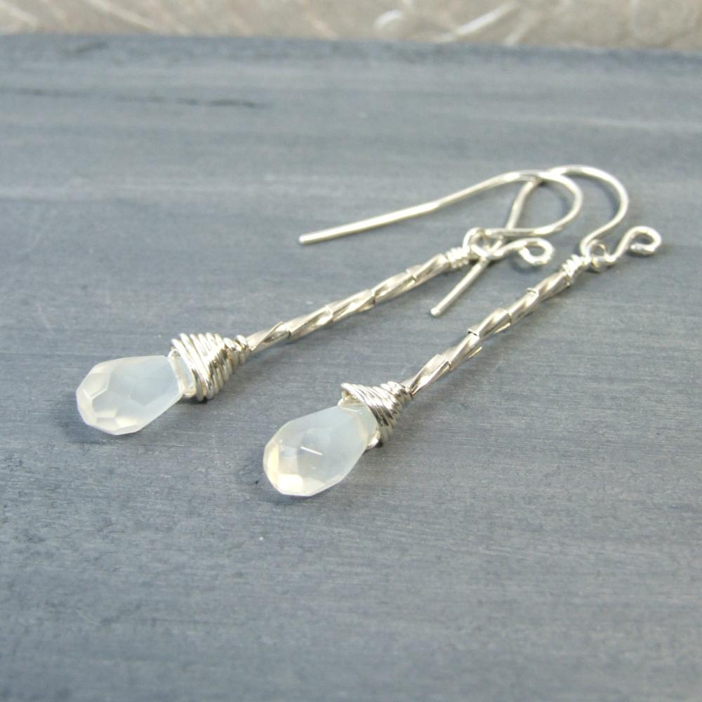 White Moonstone Sterling Silver Earrings