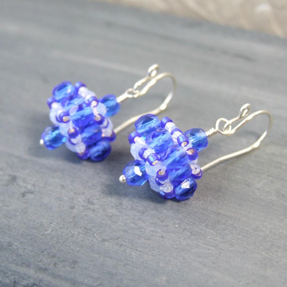 Edwardian Cobalt Blue Glass Drop Earrings