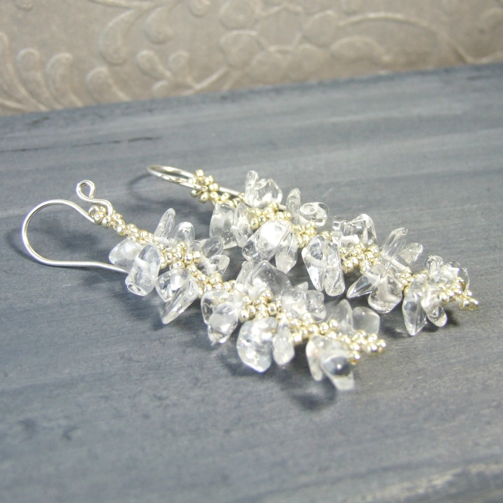 Clear Quartz Crystal Fringe Earrings