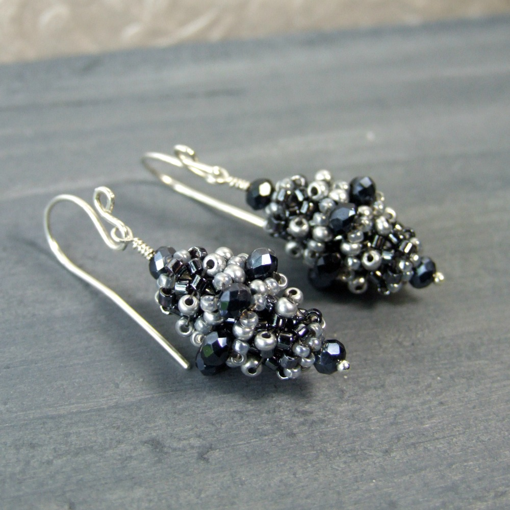 Victorian Grey Glass Beaded Earrings