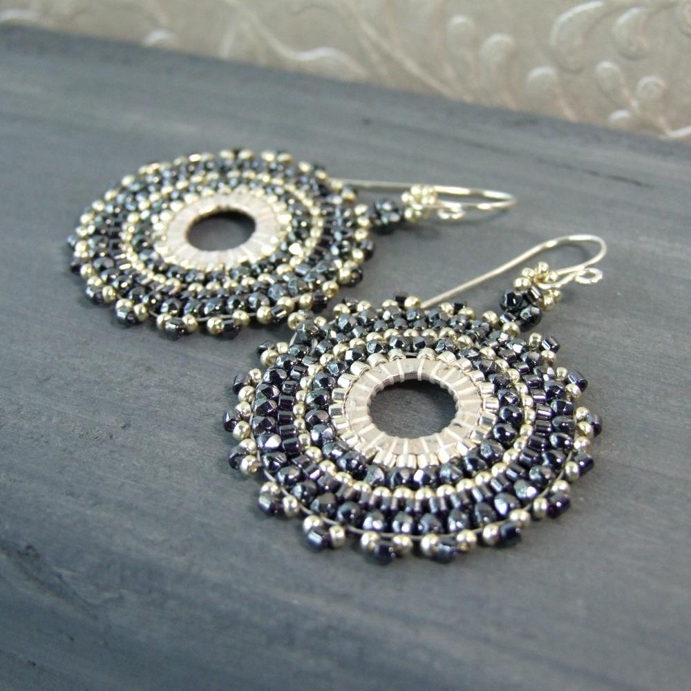 Bohemian Dark Grey Czech Glass Hoop Earrings
