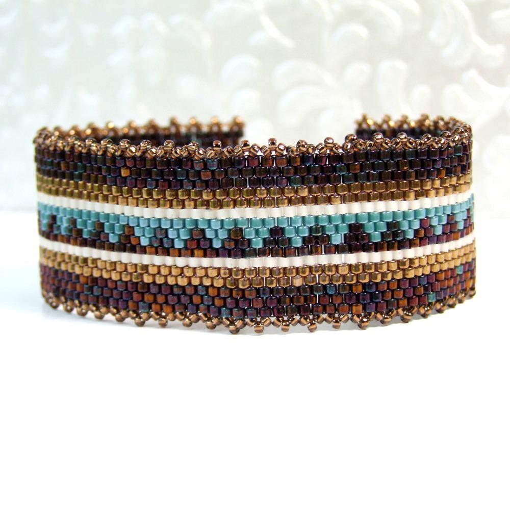 Bronze & Blue Woven Boho Bracelet