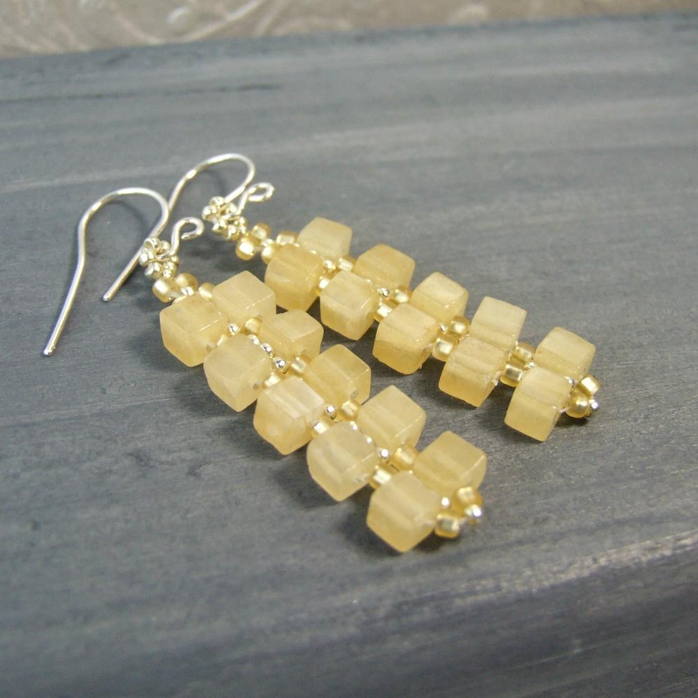 Aragonite Cube Earrings