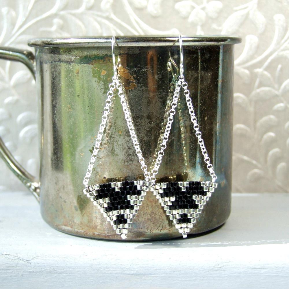 Sterling Silver Black Beaded Triangle Earrings