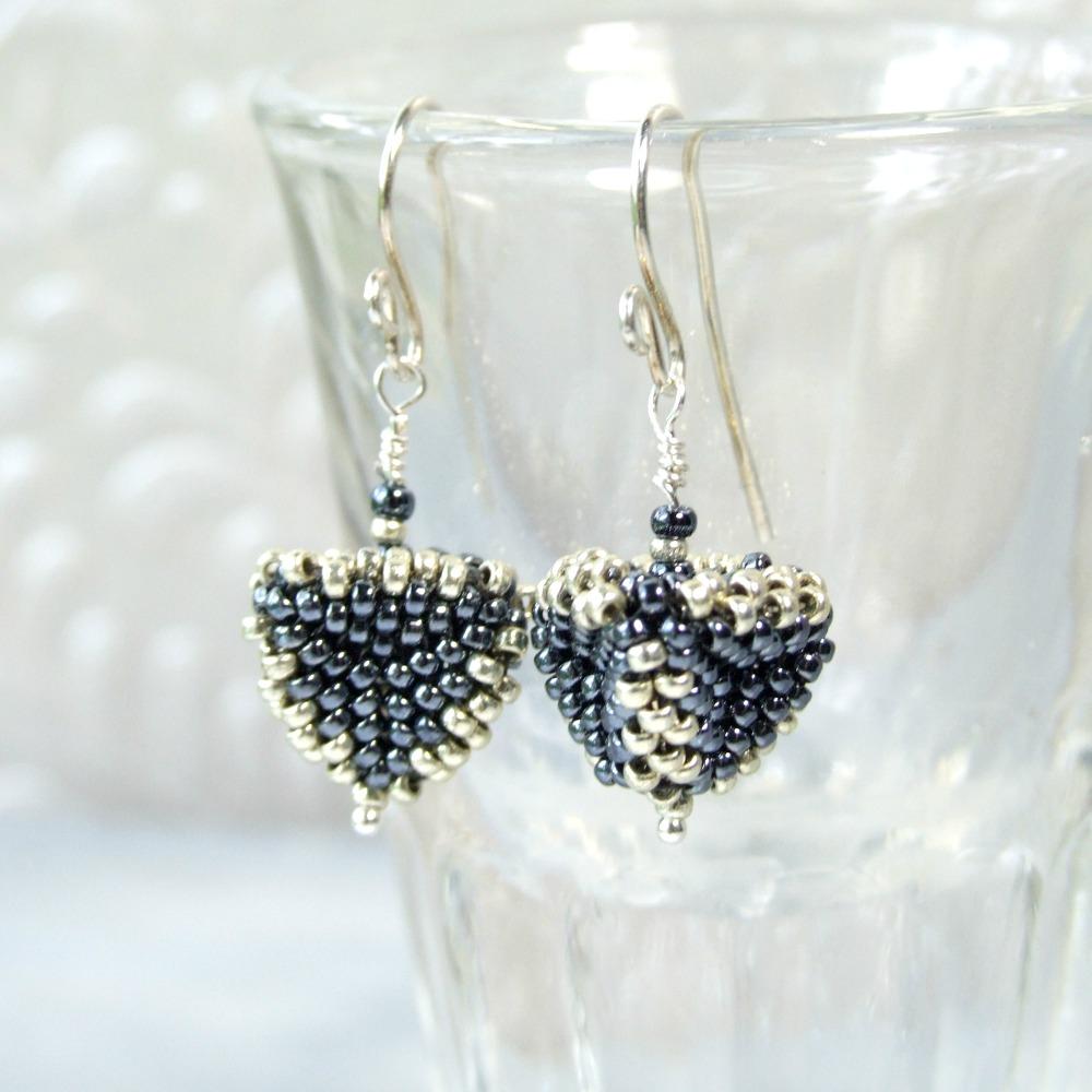 Dark Grey-Blue & Silver Geometric Triangle Earrings