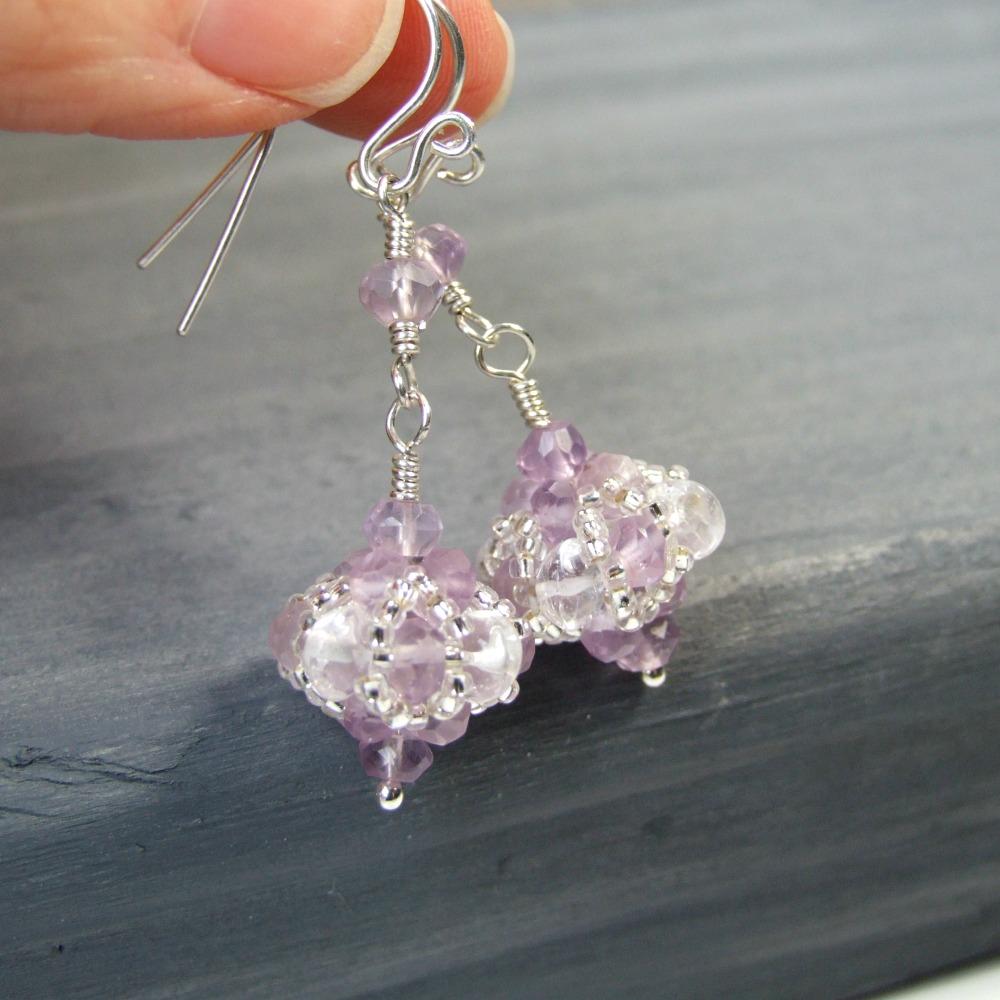 Lavender Amethyst & Crystal Sterling Silver Earrings