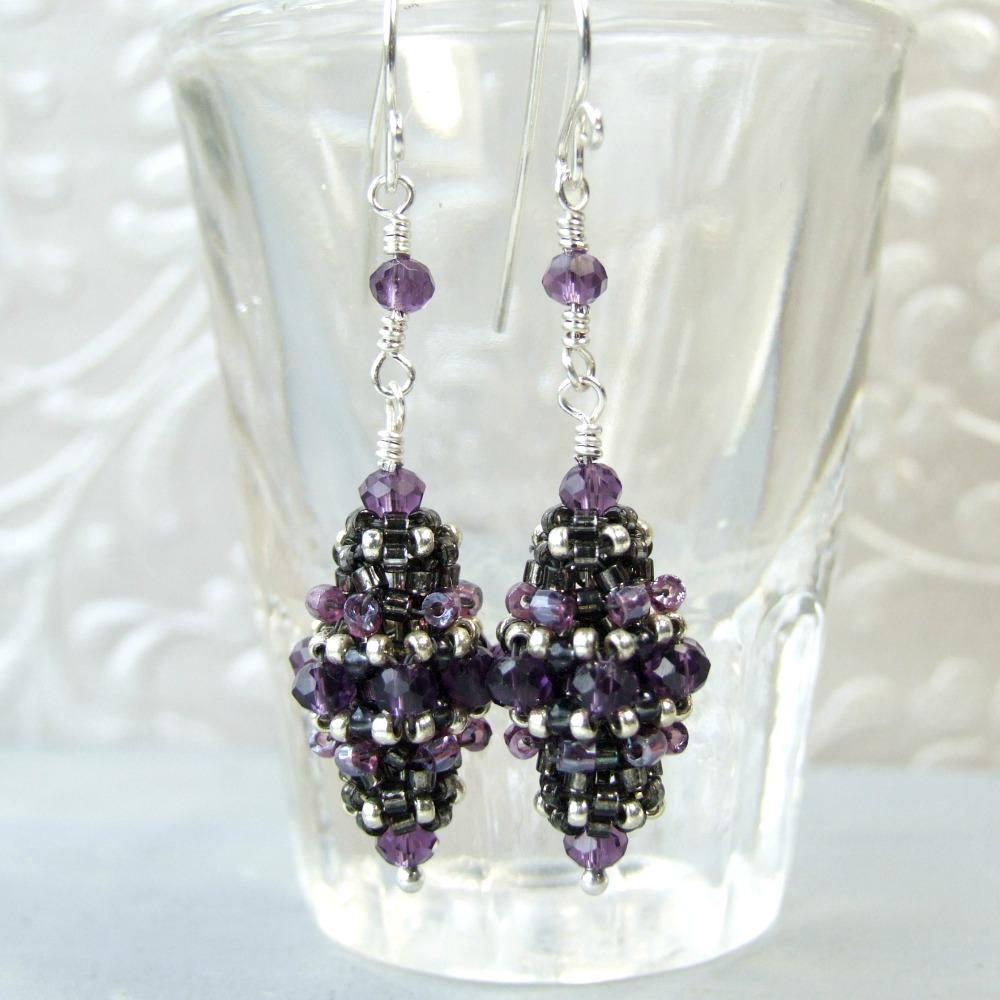 Purple Glass Beadwork Sterling Silver Earrings