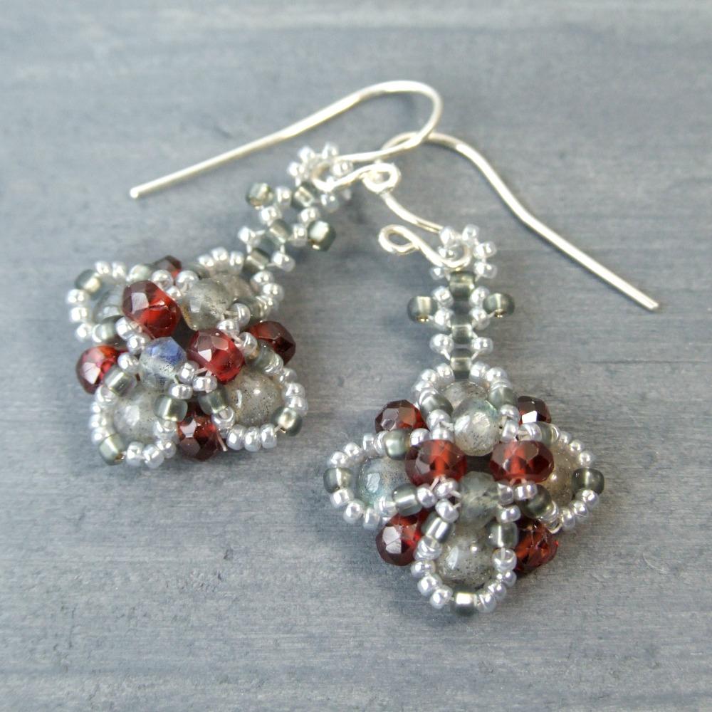 Labradorite & Garnet Beadwork Earrings