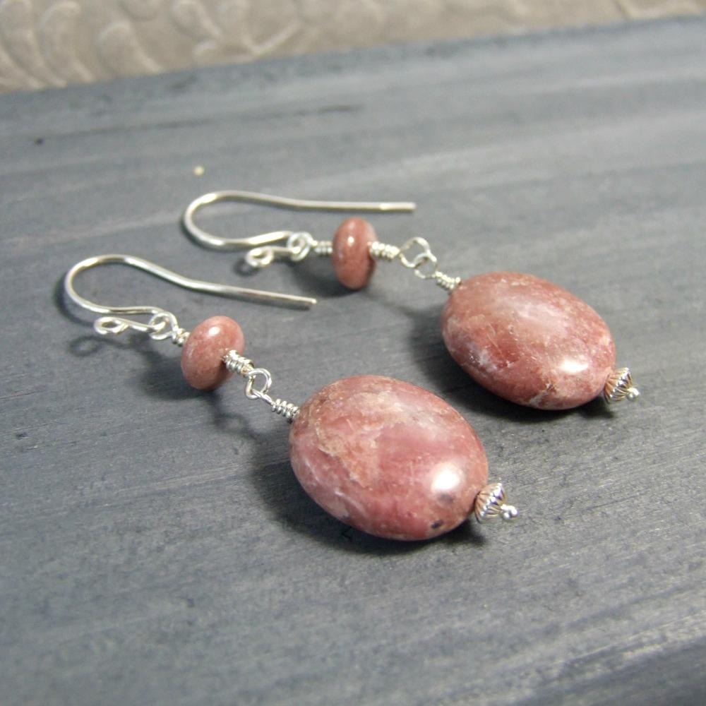 Pink Rhodonite Oval Dangle Earrings