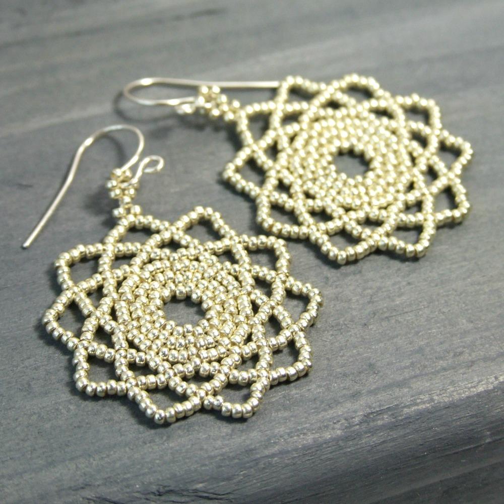 Beaded Silver Mandala Earrings
