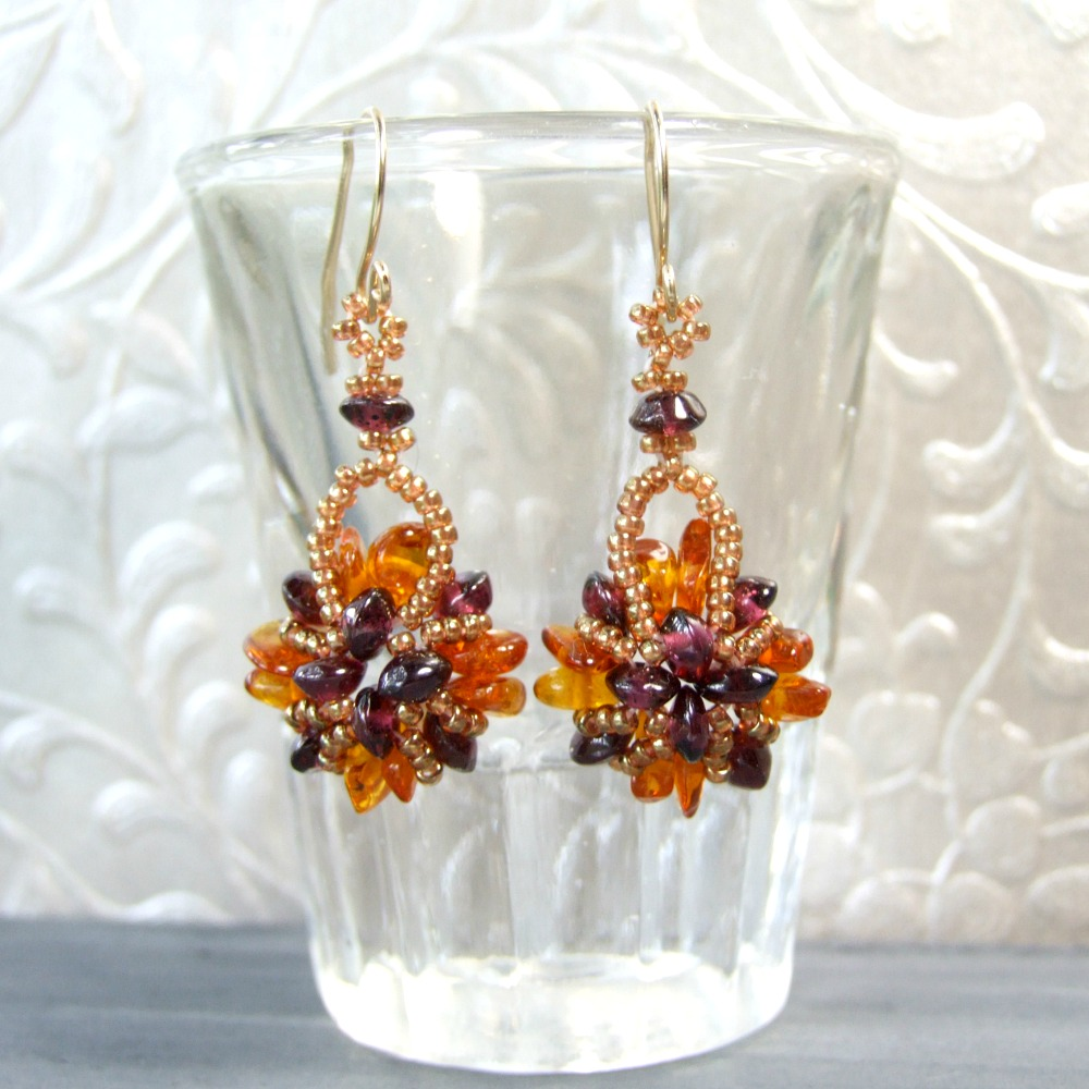 Garnet & Amber Earrings