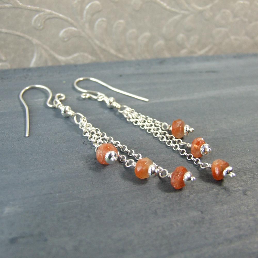 Sterling Silver Sunstone Dangle Earrings