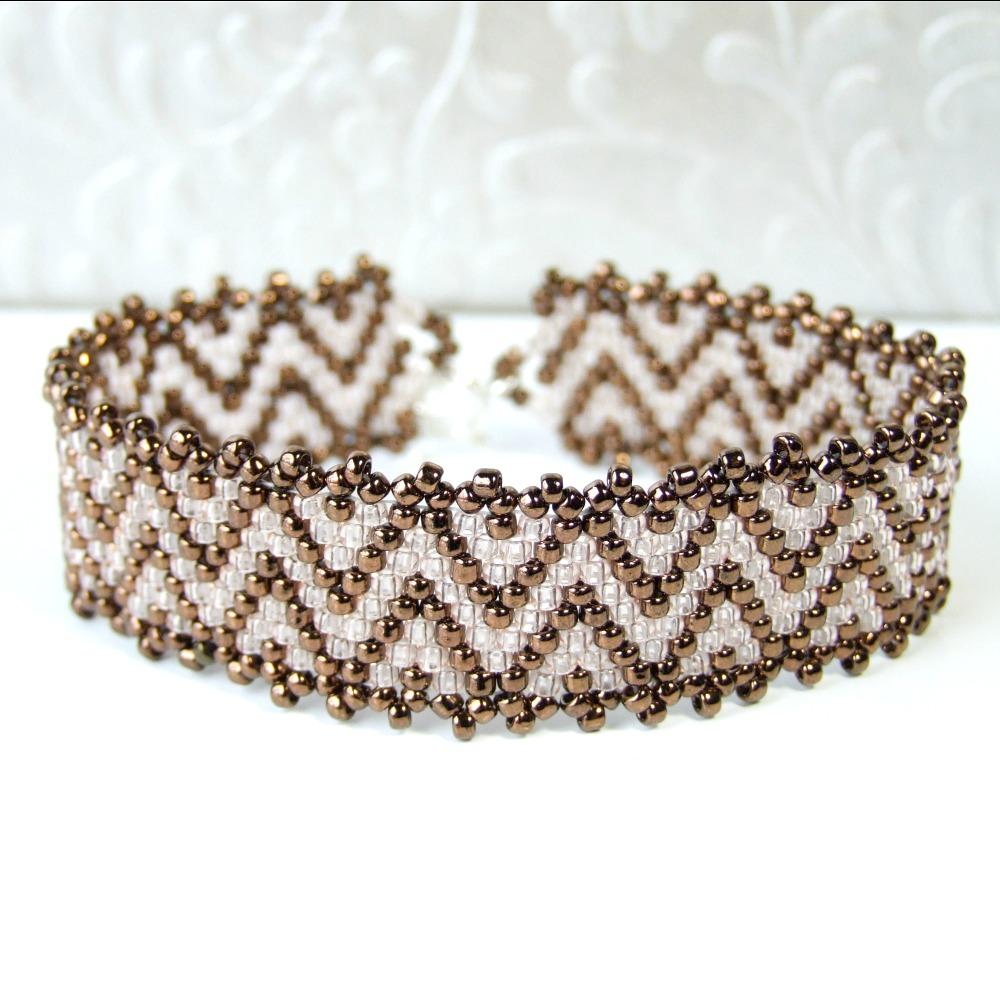 Peach & Brown Zig Zag Beaded Bracelet