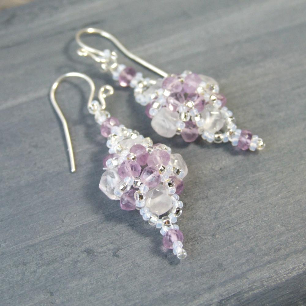 Lavender Amethyst & Snow Quartz Earrings