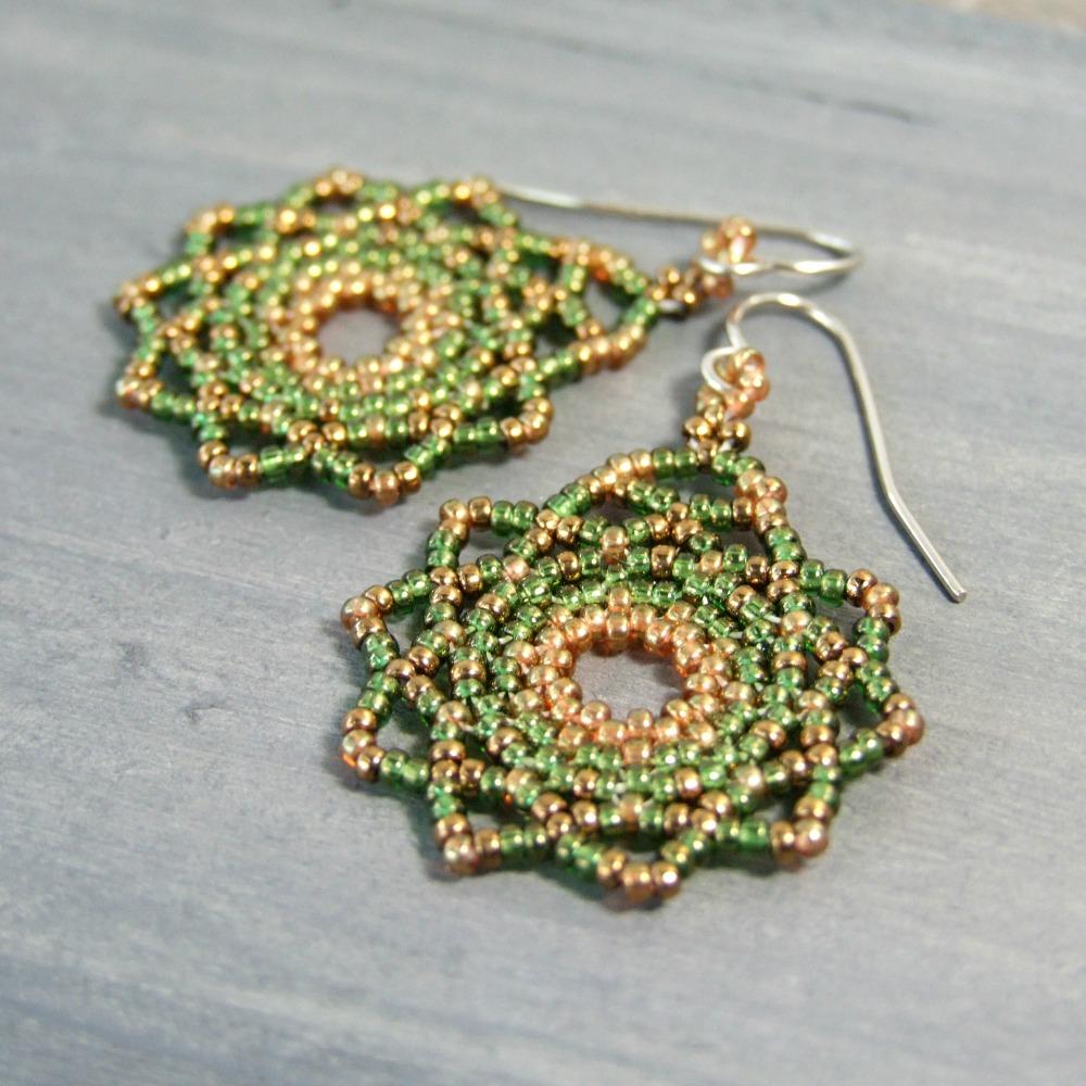Green & Golden Seed Bead Mandala Earrings