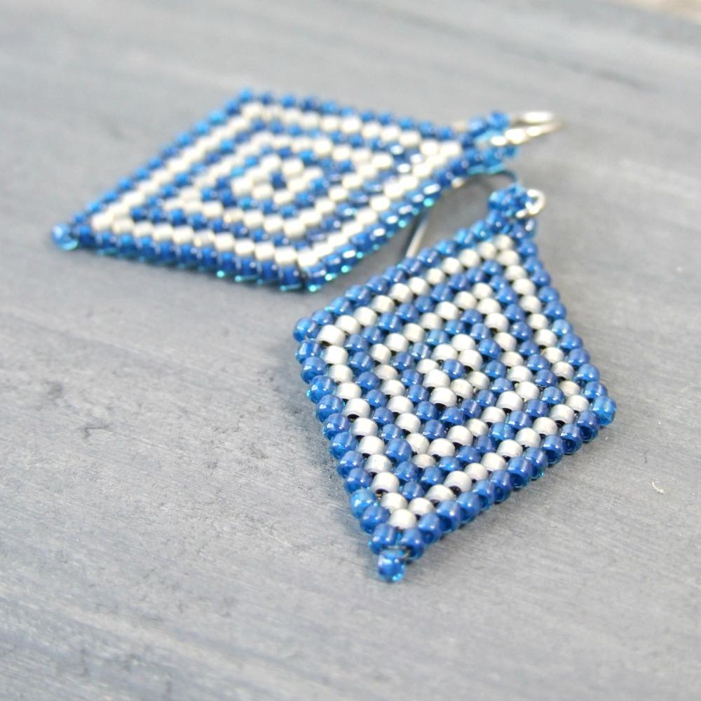 Blue & Grey Diamond Shaped Seed Bead Earrings