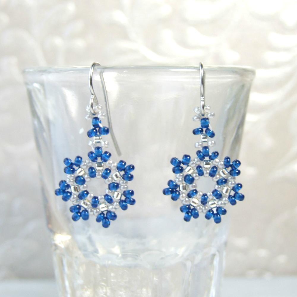 Small Cobalt Blue Snowflake Earrings