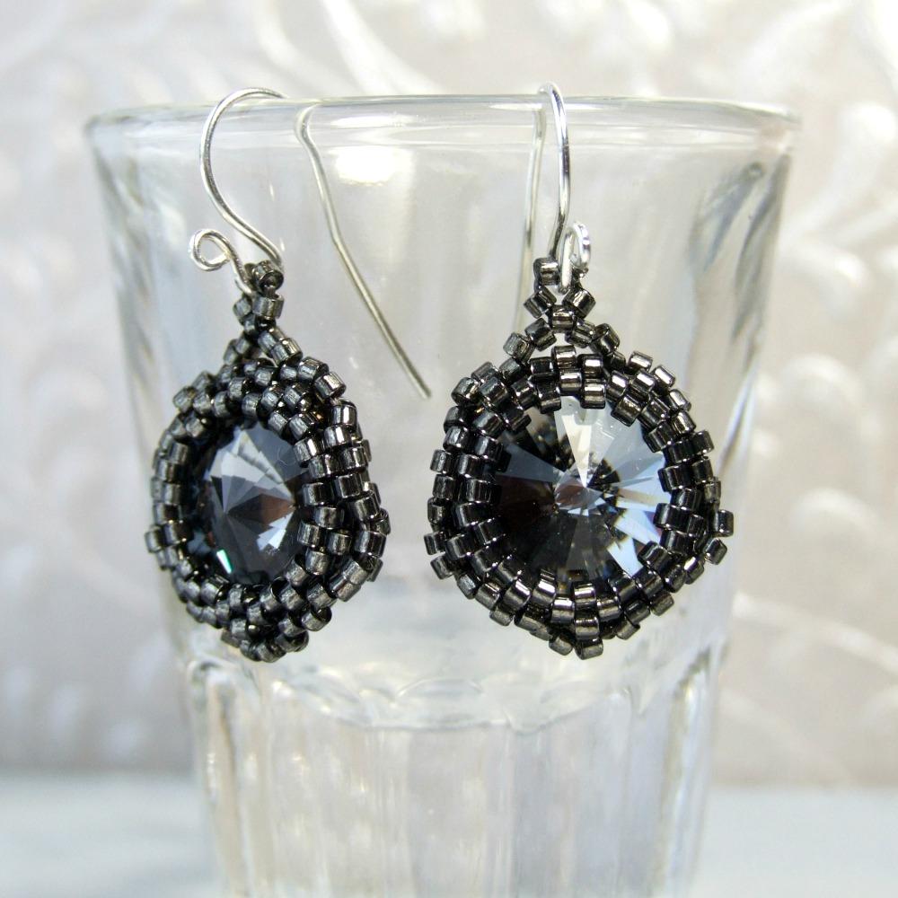 Dark Smoke Grey Beaded Swarovski Crystal Earrings