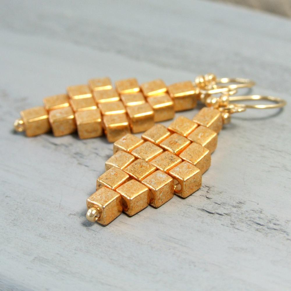 Cube Gold Glass Diamond Earrings