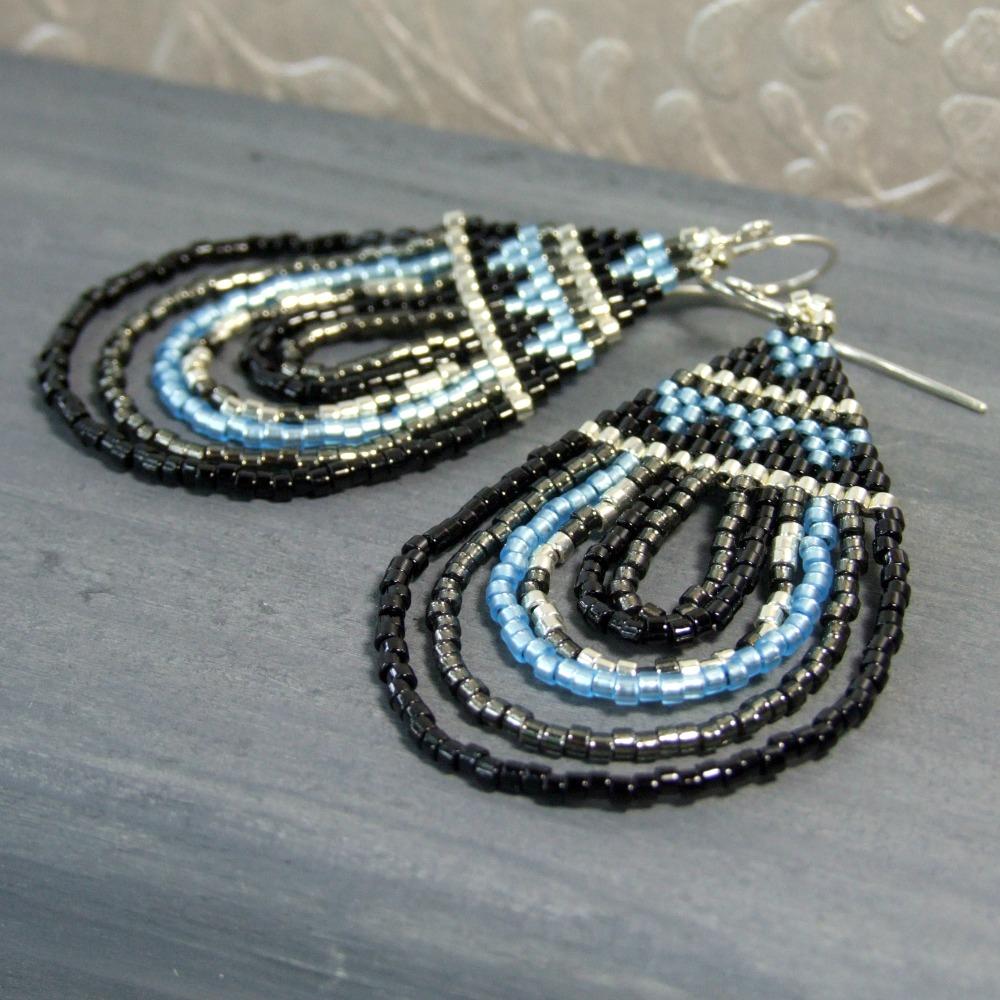 Black & Blue Boho Teardrop Earrings