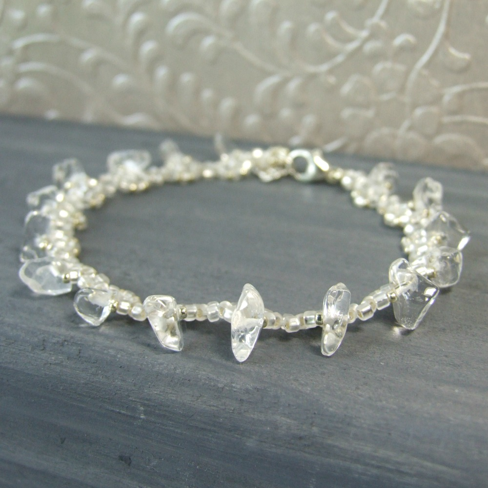 Clear Quartz Crystal Beaded Bracelet