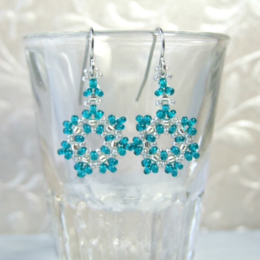 Teal Beaded Snowflake Earrings