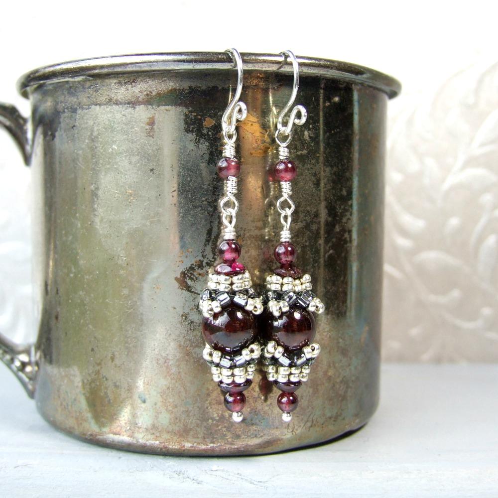 Beaded Garnet Sterling Silver Dangle Earrings