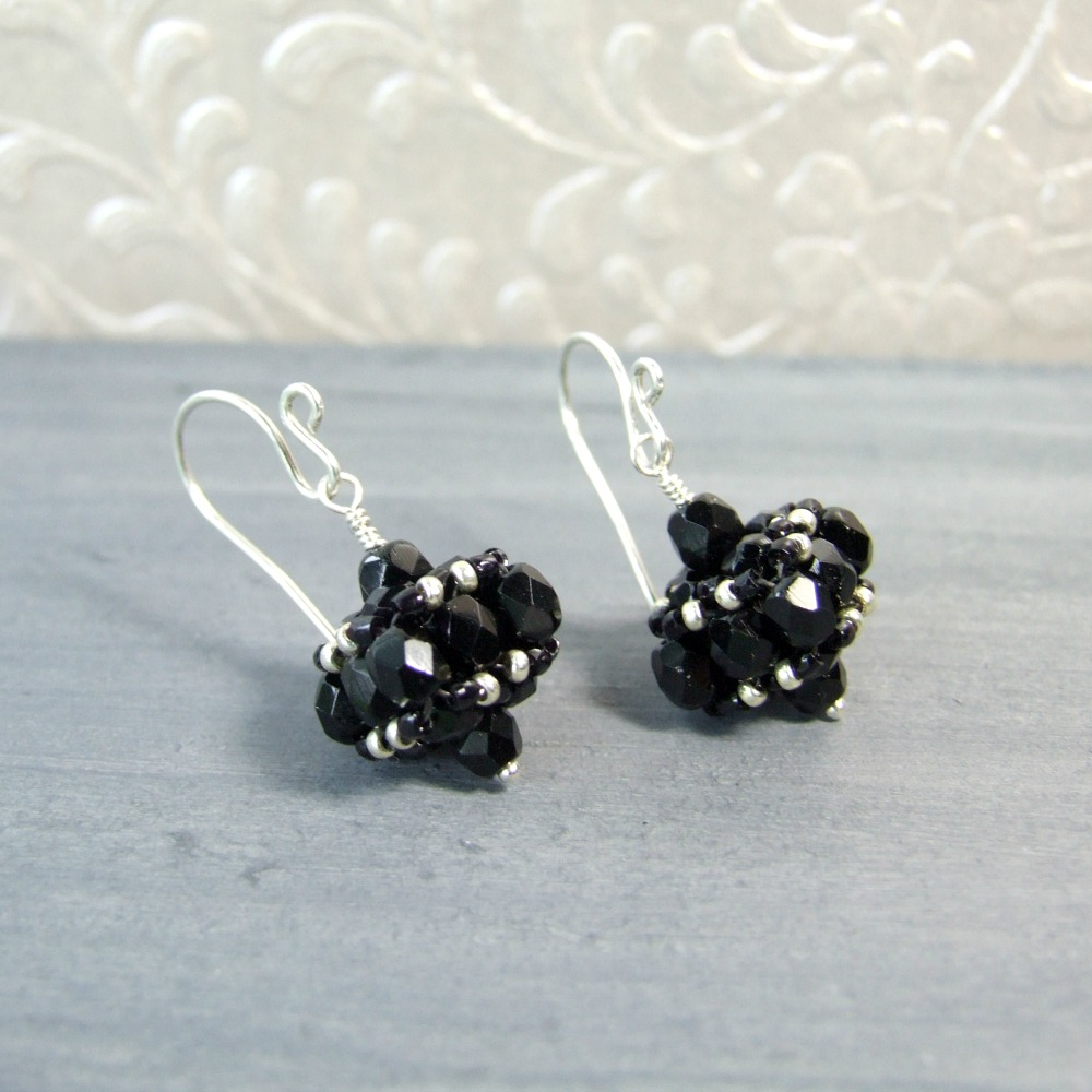Small Black Czech Glass Vintage Style Earrings