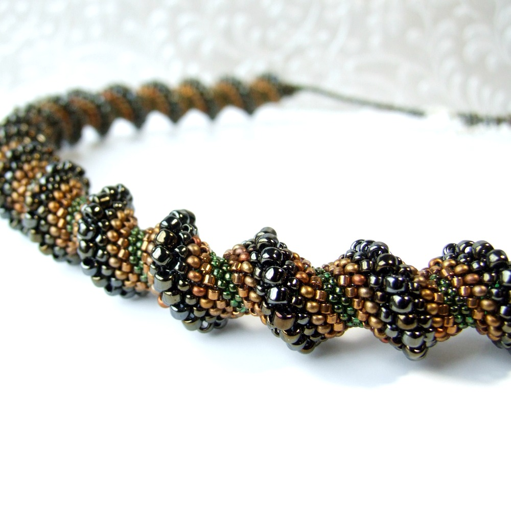 Brown & Green Cellini Spiral Necklace