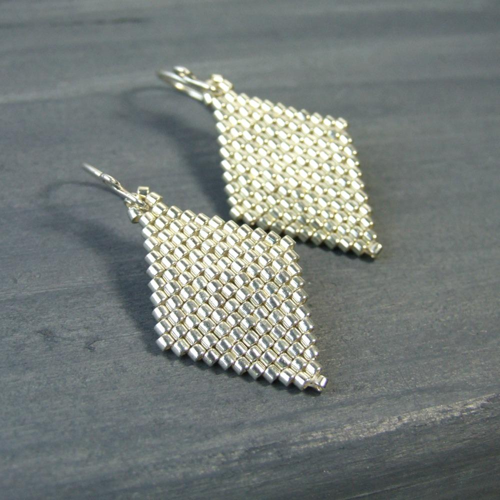 Silver Geometric Diamond Glass Earrings