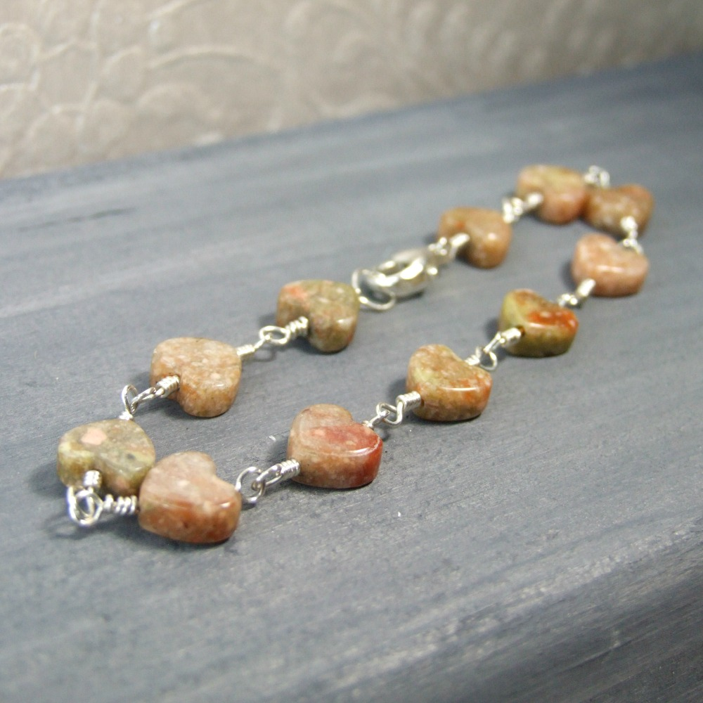 Autumn Jasper Sterling Silver Heart Bracelet