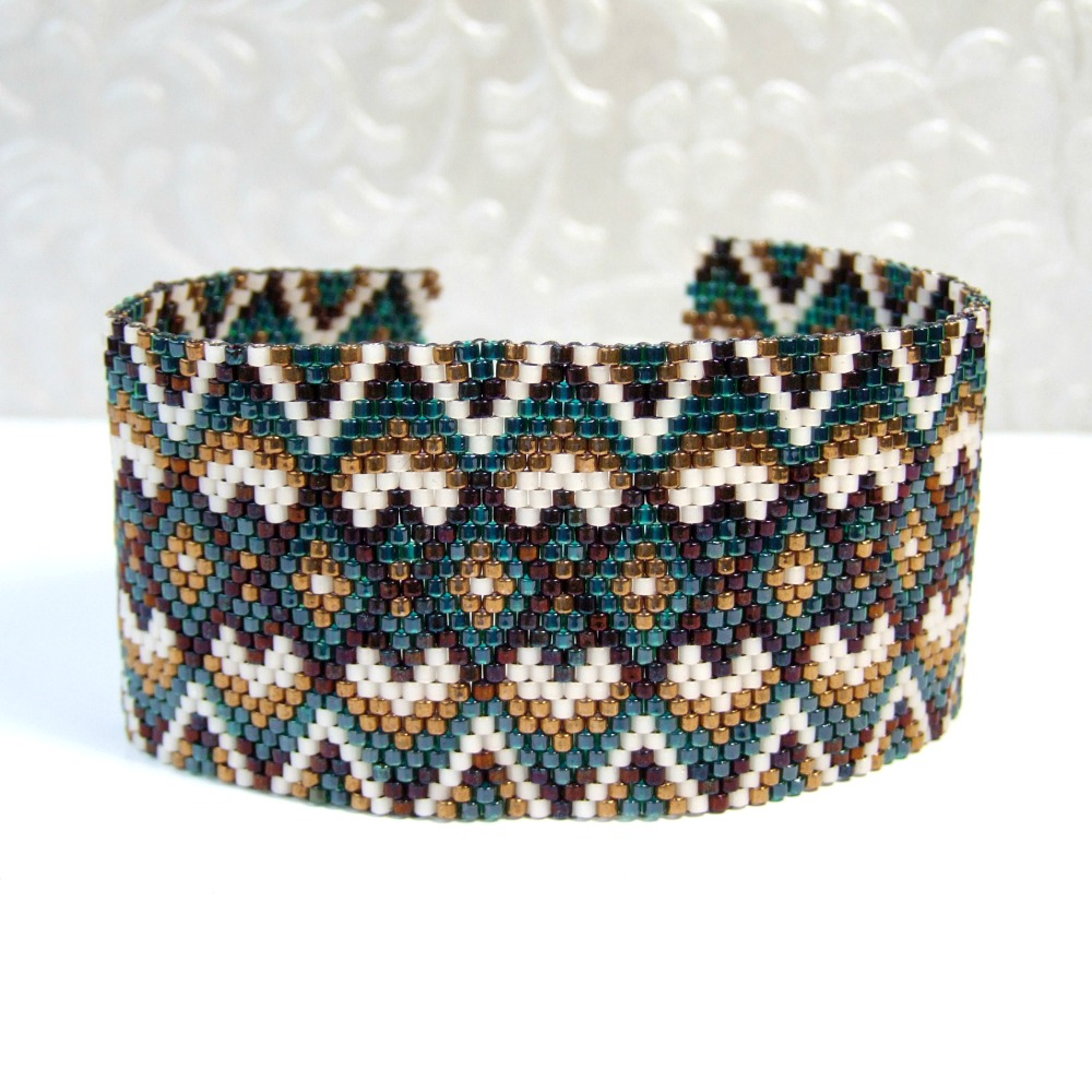 Brown & Green Geometric Seed Bead Cuff Bracelet