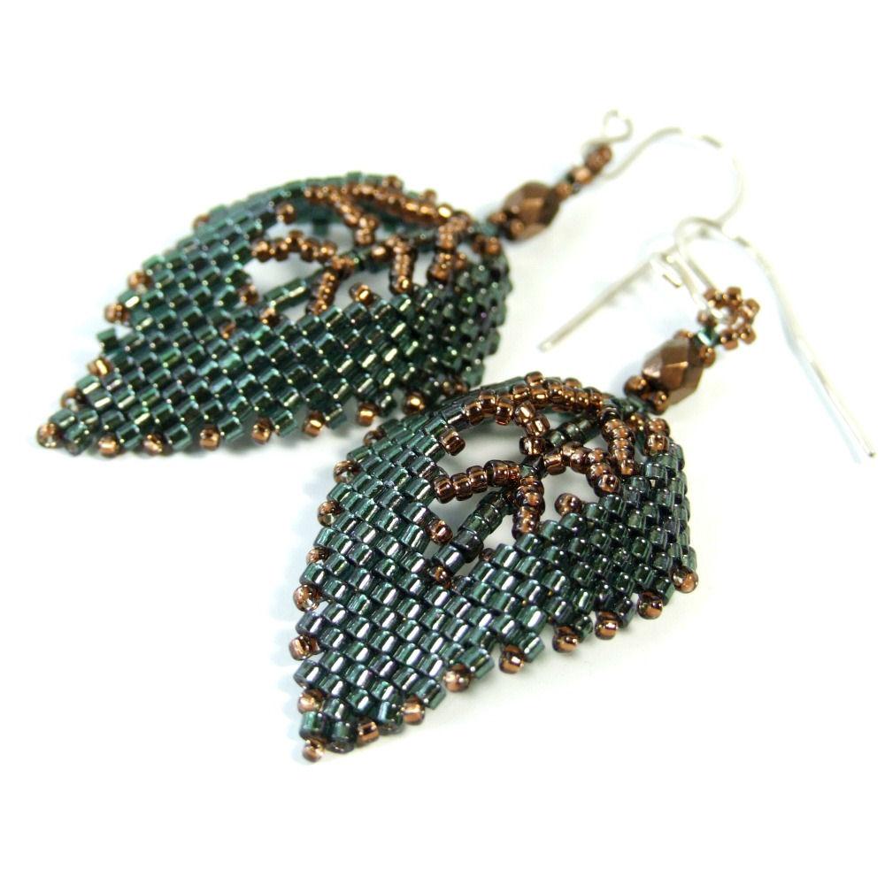 Dark Green Leaf Earrings