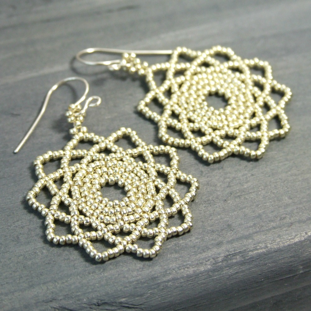 Beaded Silver Mandala Earrings