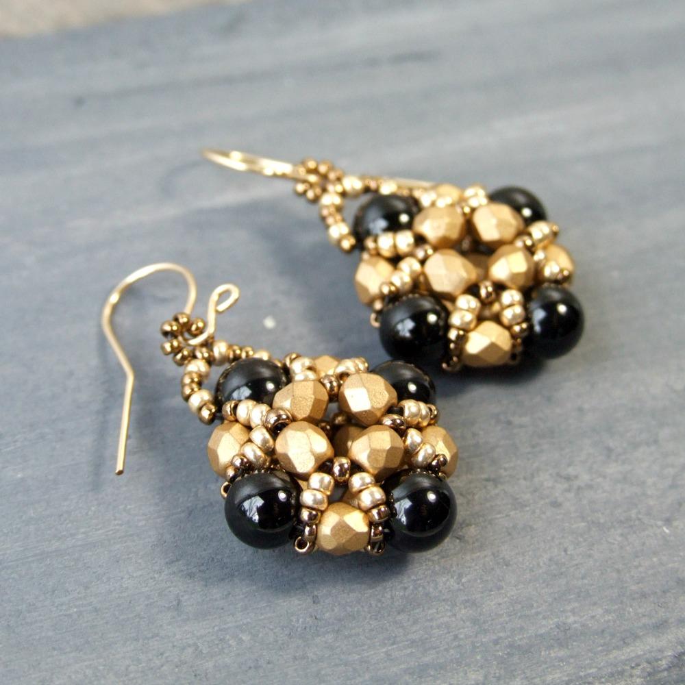 Black Onyx & Gold Glass Beaded Earrings