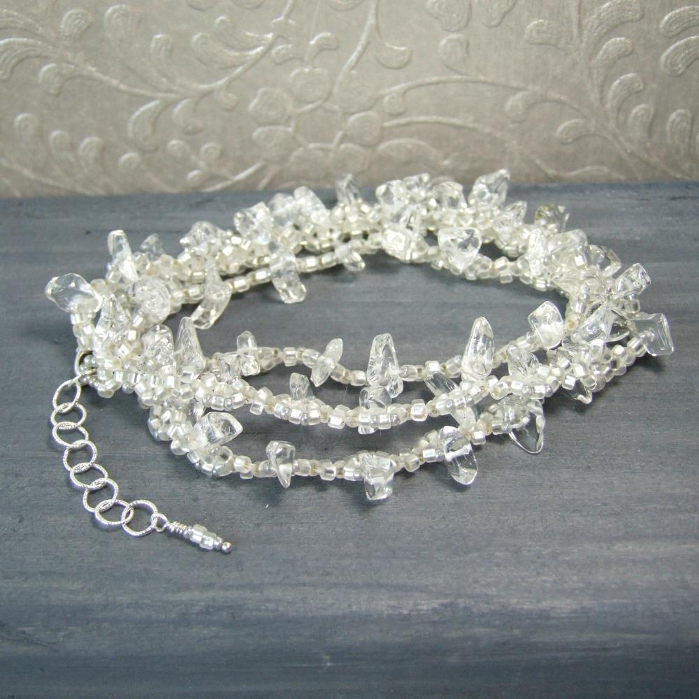 Clear Quartz Crystal Beaded White Wrap Bracelet - Necklace