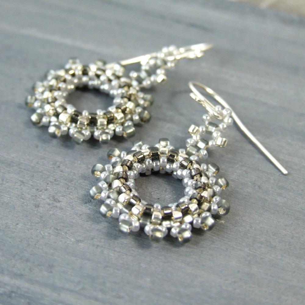 Grey & Silver Wreath Earrings