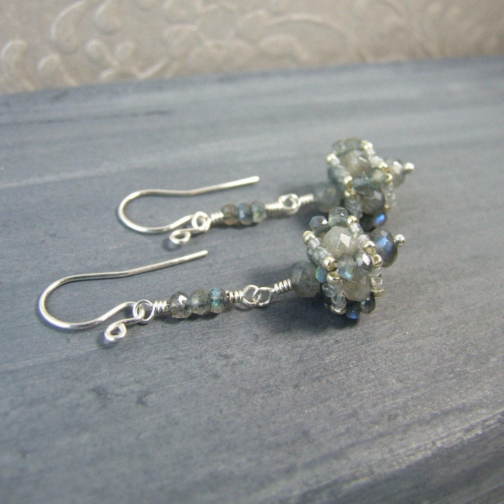 Beaded Faceted Labradorite Dangle Earrings