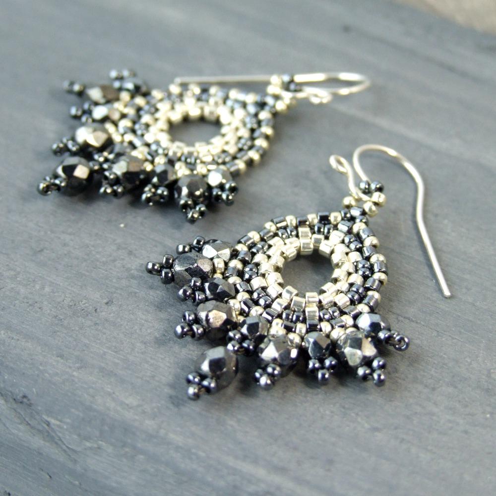 Hematite Czech Glass Bohemian Earrings