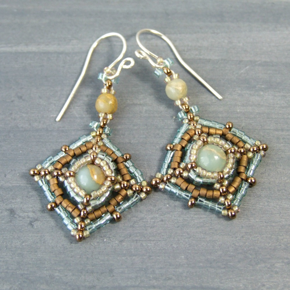 Aqua Terra Jasper Beadwork Earrings