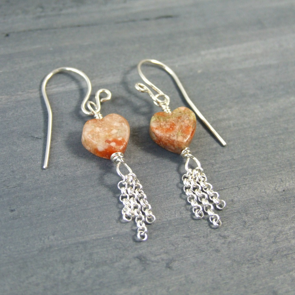 Dainty Autumn Jasper Fringe Earrings