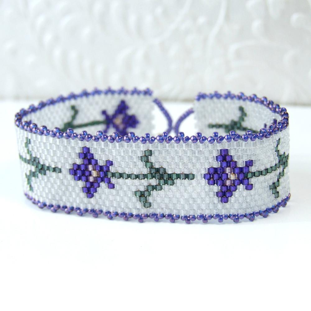Purple Iris Seed Bead Bracelet