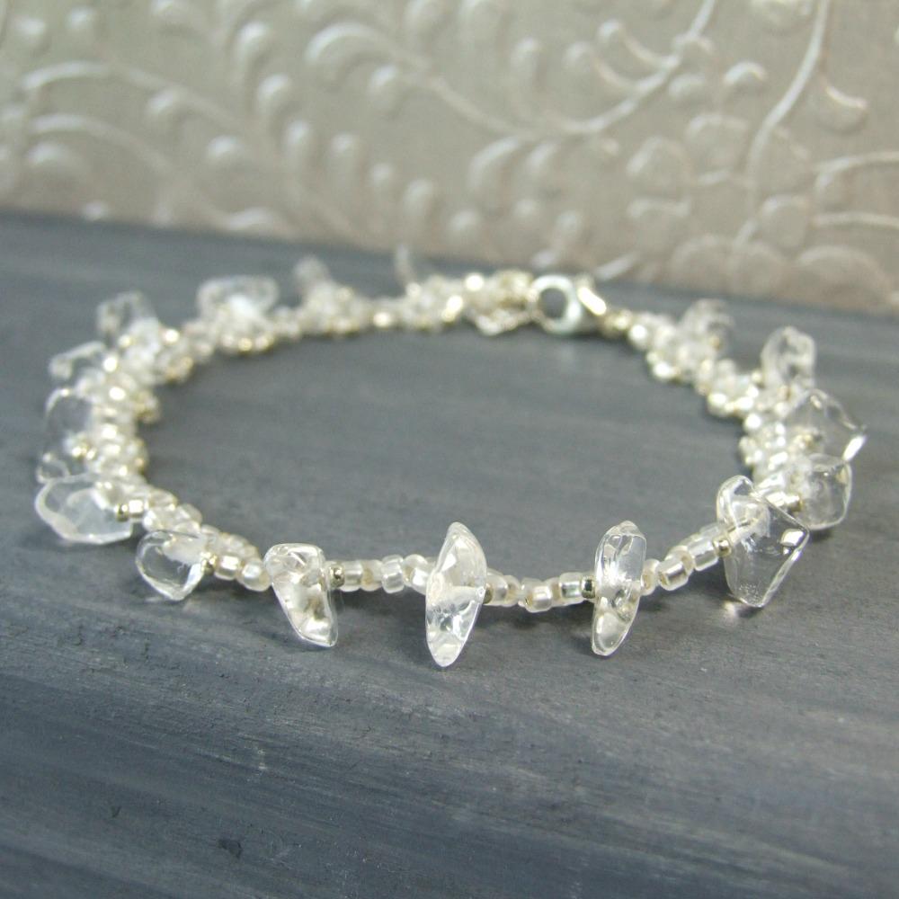 Clear Quartz Crystal Beaded Bracelet