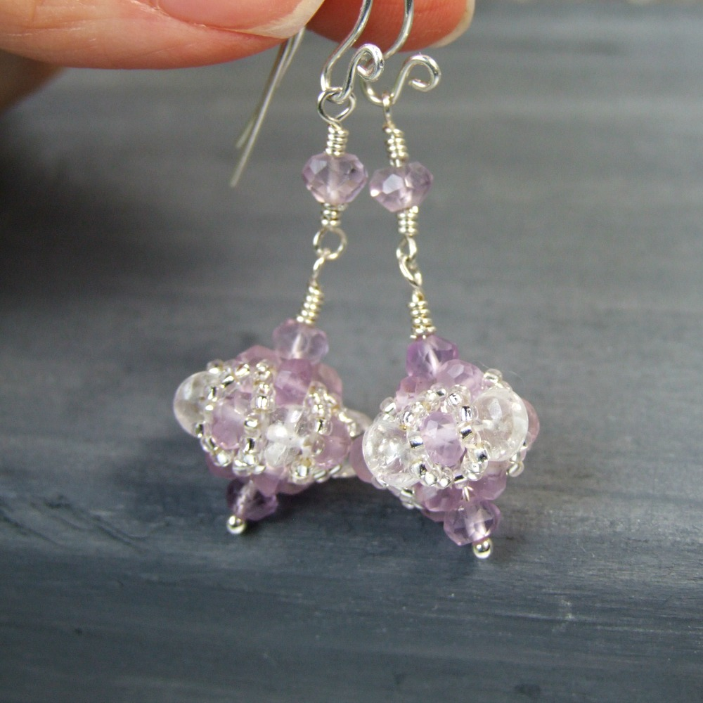 Lavender Amethyst & Crystal Sterling Silver Earrings