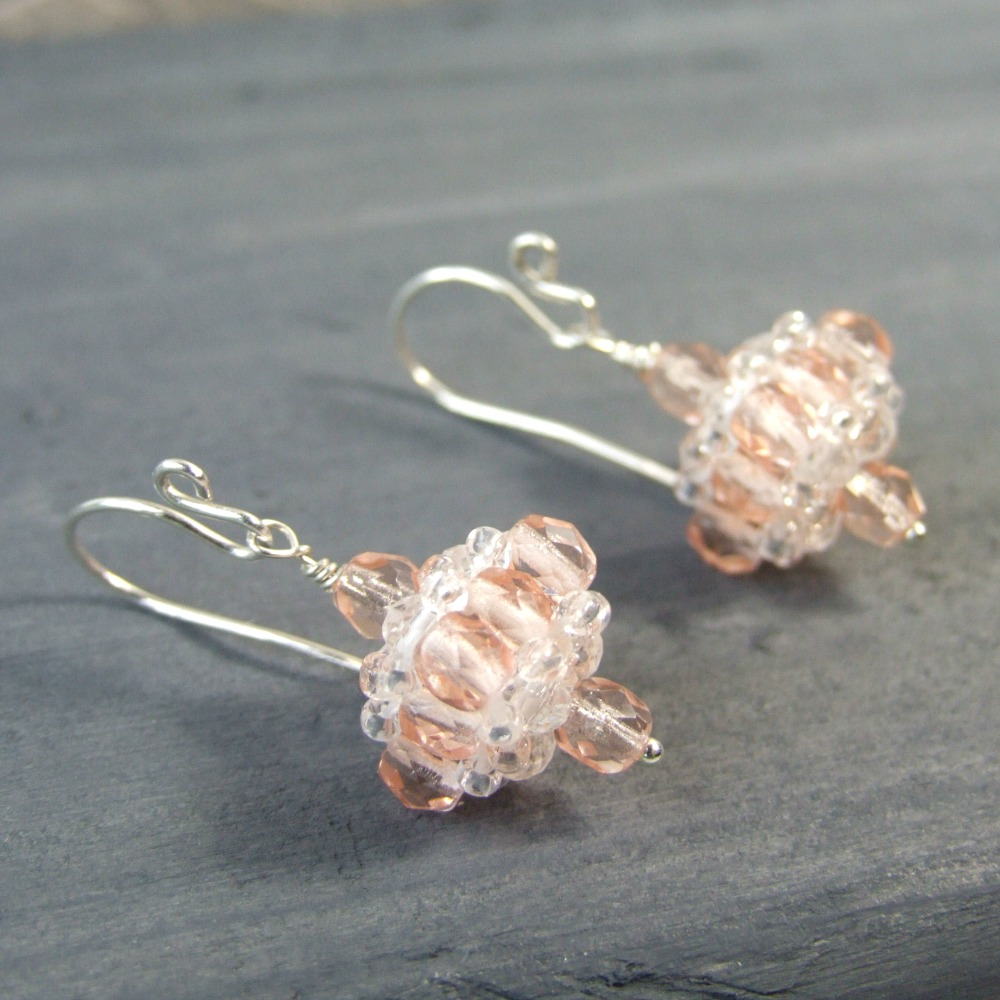 Pale Pink Czech Glass Sterling Silver Earrings