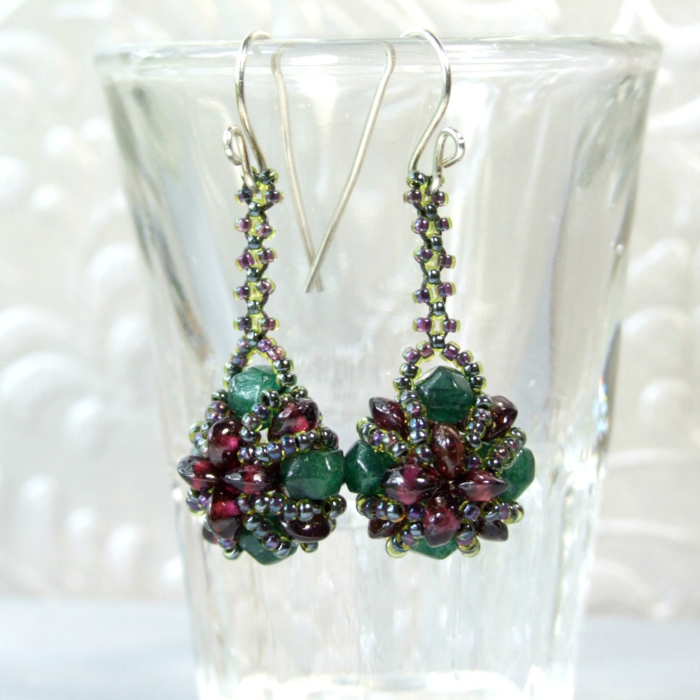 Garnet & Green Aventurine Bauble Earrings