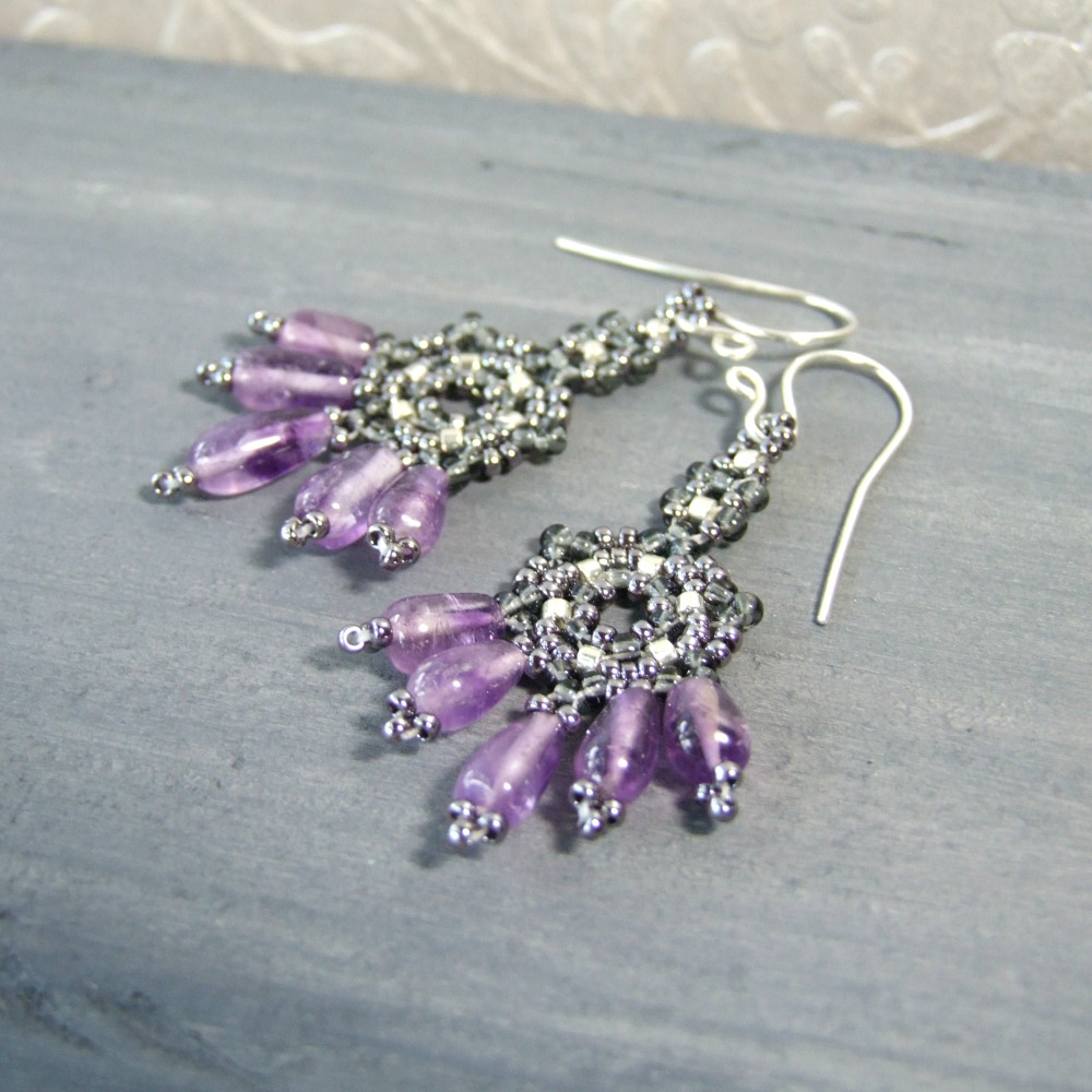 Boho Beaded Amethyst Dangle Earrings