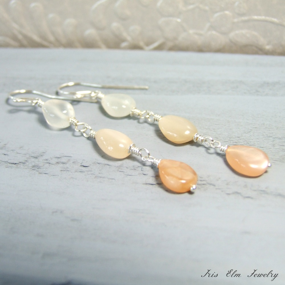 White & Peach Moonstone Ombre Dangle Earrings